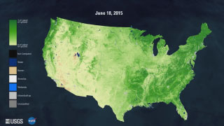 A map of the United States that varies from light green to green. The legend on the left hand side cannot be interpreted.