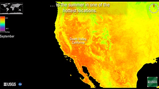 Imagery of the southwest United States and northern Mexico. The land is in bright oranges and yellows. The ocean is black.