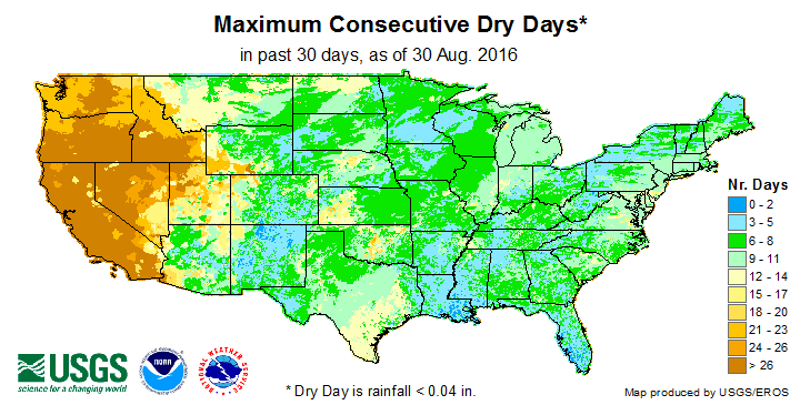 Maximum Consecutive Dry Days in the Last 30 Days