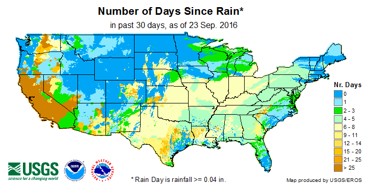 Number of Days Since a Rain Day (past 30 days)