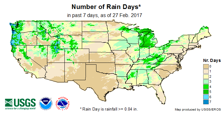 Number of Rain Days (past 7 days)
