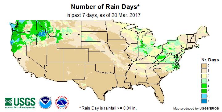 Number of Rain Days (past 7 days)