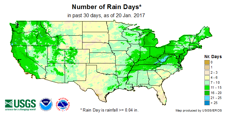 Number of Rain Days (past 30 days)